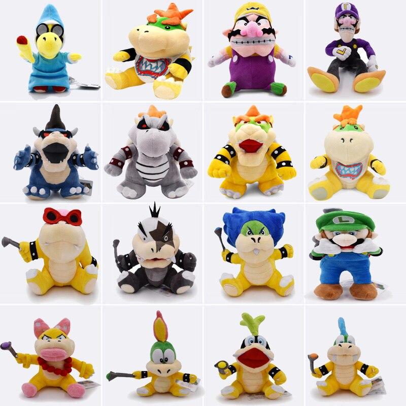 15-28 cm Super Mario Broser JR 3D Land Knochen Kubah Koopa Drachen Dark Bowser Kamek Waluigi Wario Lemmy morton Roy Bully Plüsch Spielzeug