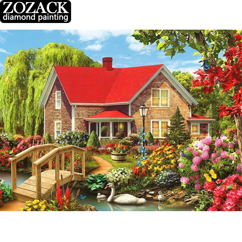 Diamond Painting Cross Stitch Garden Cottage Full Square Diamond Embroidery Picture Rhinestones Diamond Mosaic Home Decoration