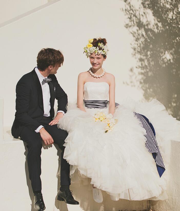 robe de mariee 2017 princess wedding dress detachable bow navy stripes sashes romantic ball gown strapless wedding dresses