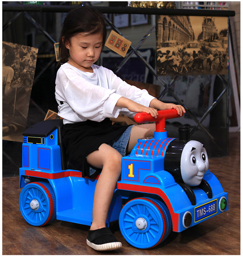 Thomas Small Train Ride on Toy Car for Children Electric Locomotive Baby Slide Walker with Music Kids Electric Four Wheels Car