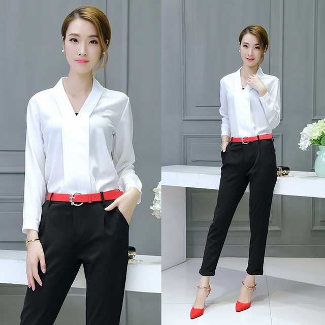 137e46d0889717 Office Women Fashionable OL Chiffon Long Sleeve Blouse Shirt Black Pants  Suit Autumn Trousers Two-Piece Clothing Set Slim Outfit