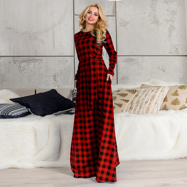 b4554a77d8 US $14.62 30% OFF|Plus Size 3XL 4XL 5XL 6XL Scottish Plaid Red Long Dress  Long Sleeve O neck Simple A line Tunic Print Dress Fashion Women Vestido-in  ...