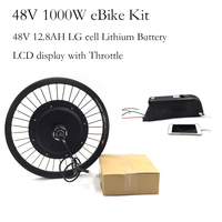 Rear Wheel 48V 1000W Electric Bicycle Motor Conversion Kit 48v 12.8ah Lithium battery pack