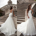 Robe Mariage Vintage Sexy Mermaid Wedding Dresses 2017 Sheer Neck Lace Appliques Backless Vestidos De Novia Custom