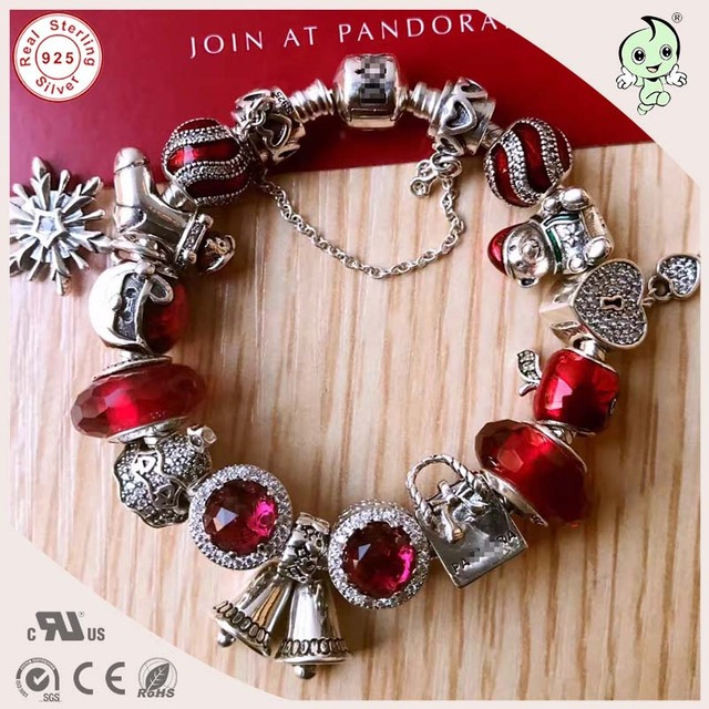 Hot Sale Top Quality Best Christmas Gift Silver Accessories Famous Brand 925 Authentic Silver Christmas Charm Bracelet