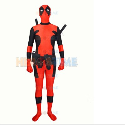 Hot Newest red Deadpool costume Spandex full body suit Deadpool superhero Costume free shipping