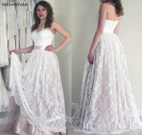 2019 Lace Summer Boho Wedding Dress Vintage A Line Sleeveless Backless Reception Bridal Gown Wedding Gown Plus Size