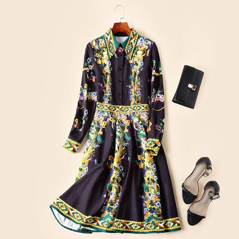 Robe En Pendule Élégant Été La Et Empire Diamants Turn Grosse down Imprimer Nouvelles Printemps Piste 2019 Collar Ziwwshaoyu Multi Femmes Robes 61Iftx1