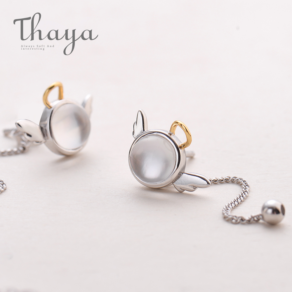 Thaya original angel design stud earrings s925 sterling silver wing crystal shell long line earring for Innrech Market.com