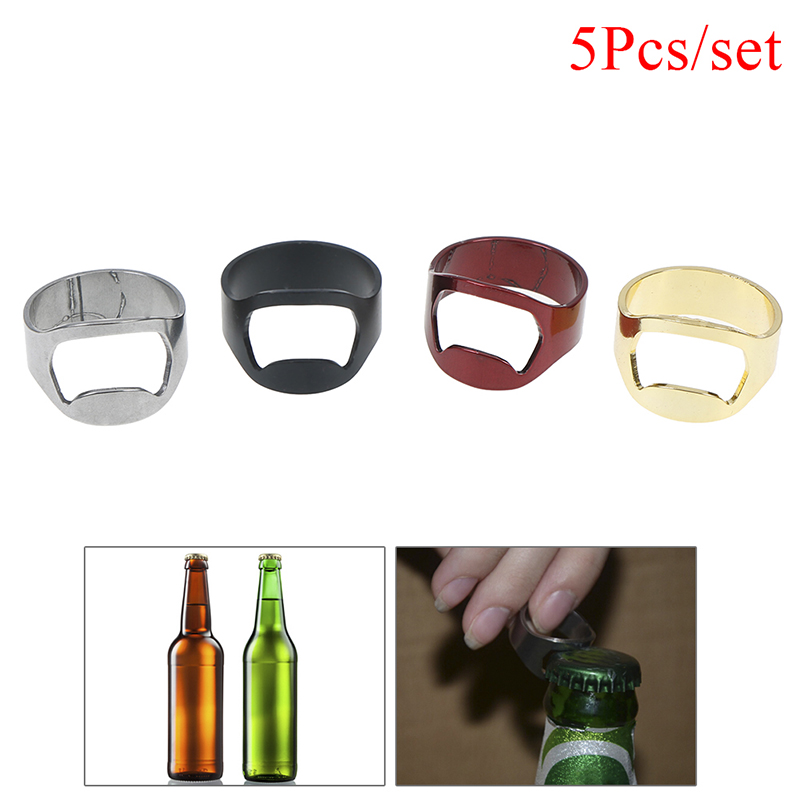 Lot of 5PCS Stainless Steel Finger Ring Bottle Opener Thumb Beer Bar Tool Party