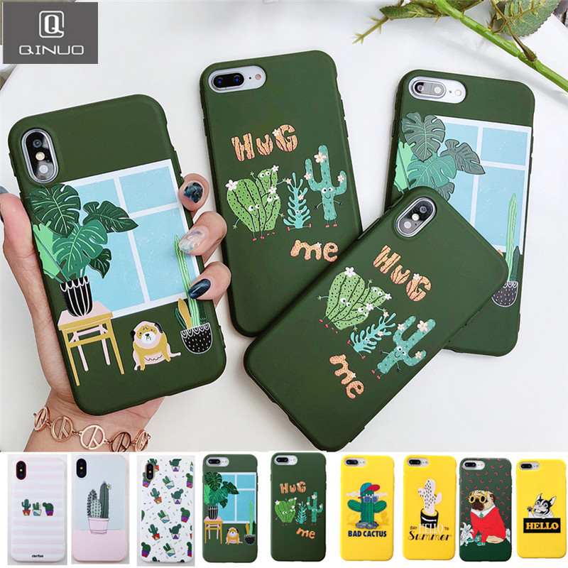 innovative design 4604f 357d5 US $1.32 15% OFF QINUO Cactus Phone Case for iphone X XR XS Max Art Leaf  Relief Cases For iphone 6S 6 7 8 Plus Plants Back Cover Cartoon Dog Capa-in  ...