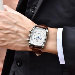 Image 2 - BENYAR แฟชั่น Chronograph นาฬิกาผู้ชายกันน้ำ 30M สายคล้องคอหนังแท้คลาสสิกสี่เหลี่ยมผืนผ้านาฬิกาควอตซ์