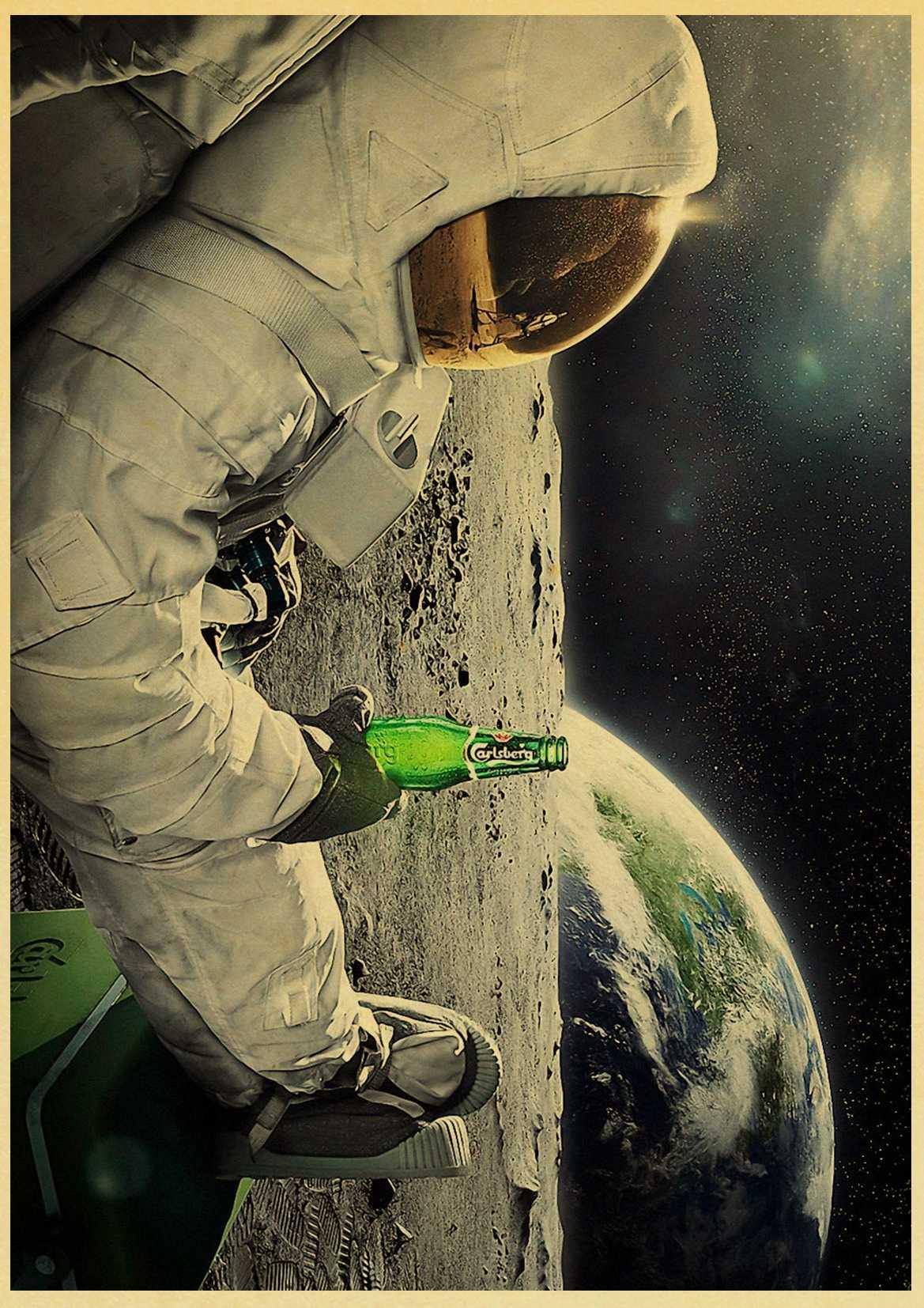 Funny Beer Astronaut Drinking Beer Retro Poster Sticker Kraft