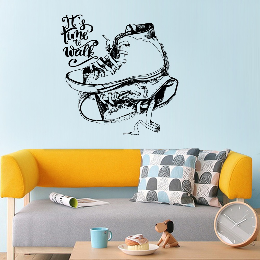 Creative black sketch flat shoes shoe cabinet wall stickers home bedroom decoration removable self adhesive art wallpaper in wall stickers from home