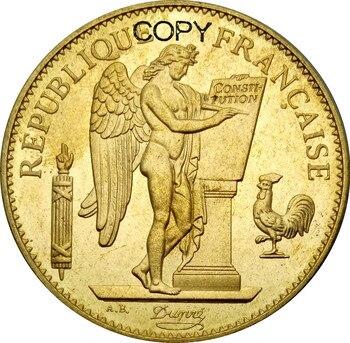 Francia oro 1889 A París 100 Franco Ángel de la suerte latón copia monedas de Metal