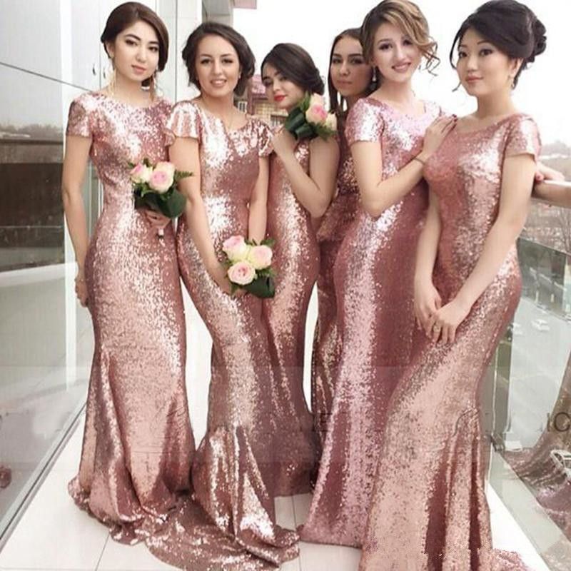 2016 Rose Gold Capped Sleeves Metallic Mermaid Bridesmaid Dresses