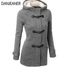DANJEANER Women Basic Jacket Coat 2019 Female Parkas Long Hooded Overcoat Zipper Horn Button Outwear Casaco Feminino