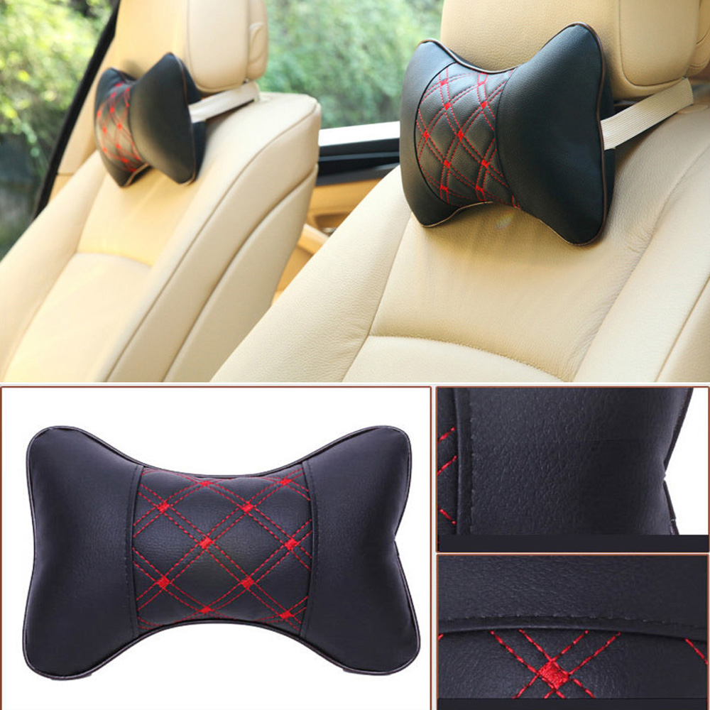 2 pcs fashionable seat covers car pillow breathable headrest neck leather pillow pad black beige
