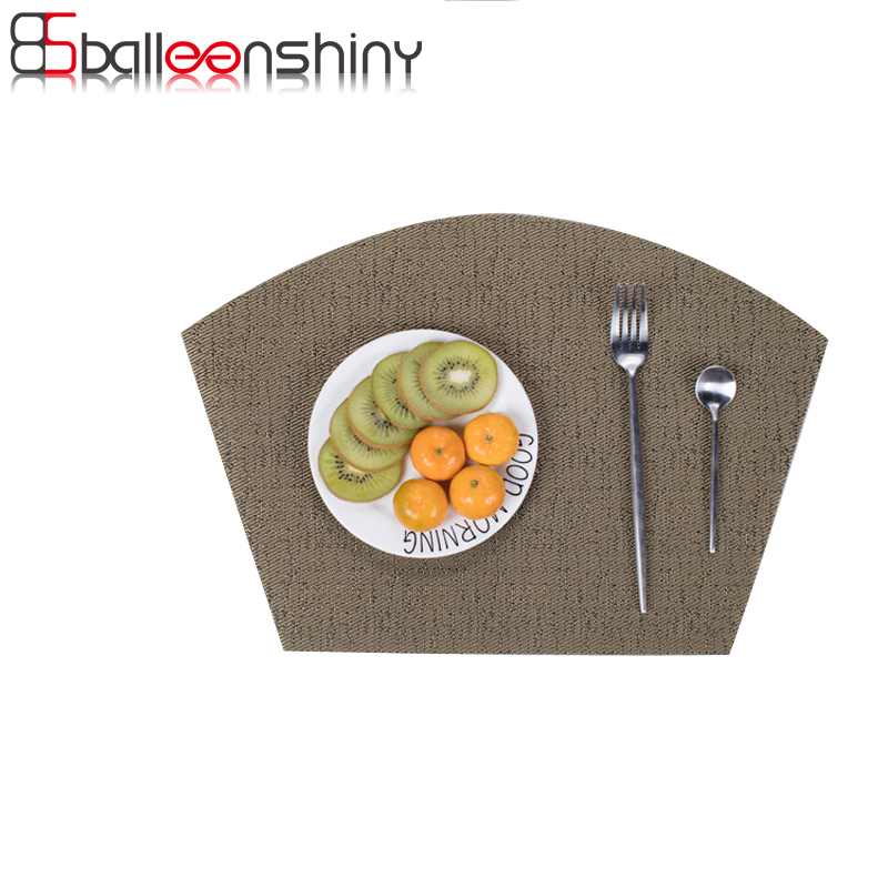 BalleenShiny Multi-styles PVC Dining Table Placemat Europe Style Kitchen Tool Tableware Pad fanshaped Coffee Tea Place Mat