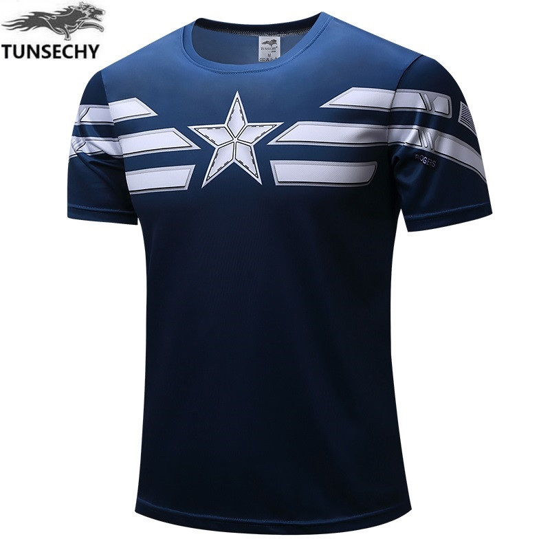 NEW 2019 TUNSECHY Captain America 2 Super Hero Lycra Compression Tights T Shirt Men Fitness Clothing Short Sleeves S-4XL