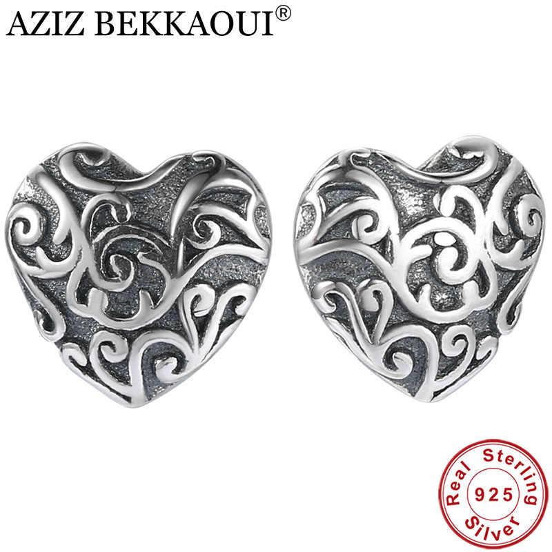 Aziz Bekkaoui Vintage 925 Bông Tai Đính Đá Trái Tim Nữ Bạc Thật 100% Bông Tai Cho Bé Gái Cưới Món Quà Trang Sức
