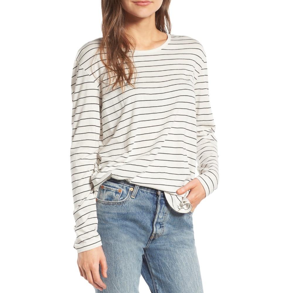 Plus Size Striped T Shirt Women White Long Sleeve Oversized Tshirt Female T Shirt -8182