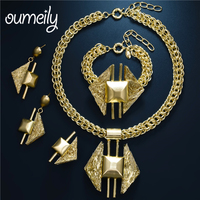 OUMEILY Jewelry Sets Women Gold Color Dubai African Nigerian Beads High Quality Necklace Chain Turkish Jewelry