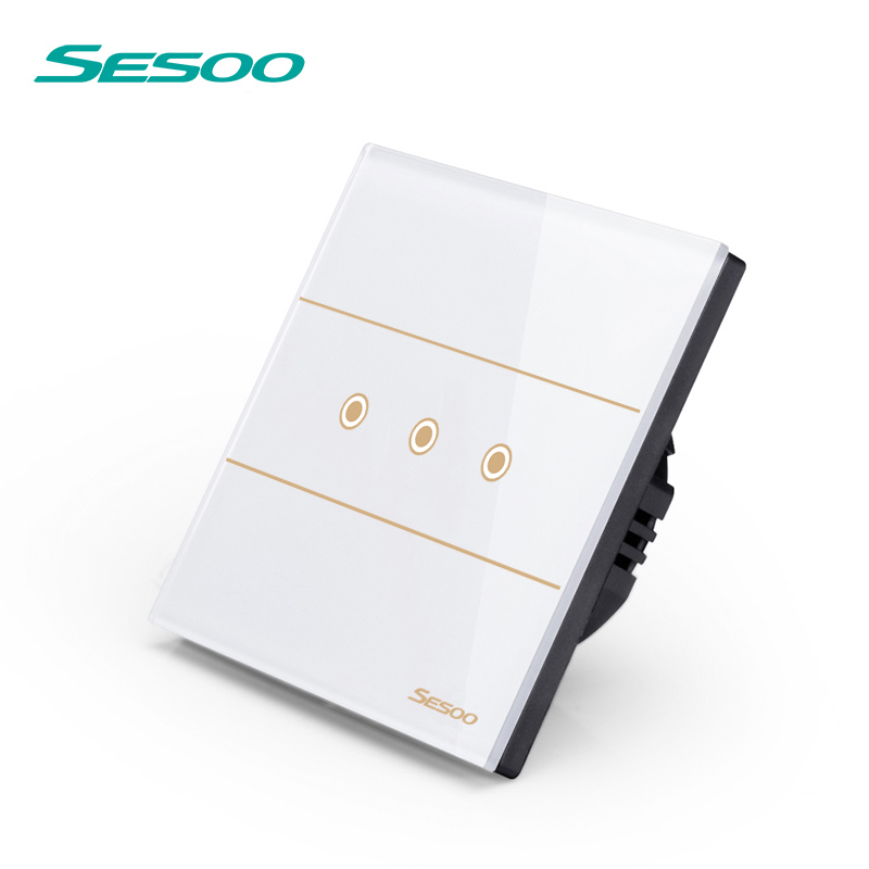 SESOO Remote Control Switches 3 Gang 1 Way, SY5-03 White, Wall Touch Switch,Crystal Glass Switch Panel smart home eu touch switch wireless remote control wall touch switch 3 gang 1 way white crystal glass panel waterproof power