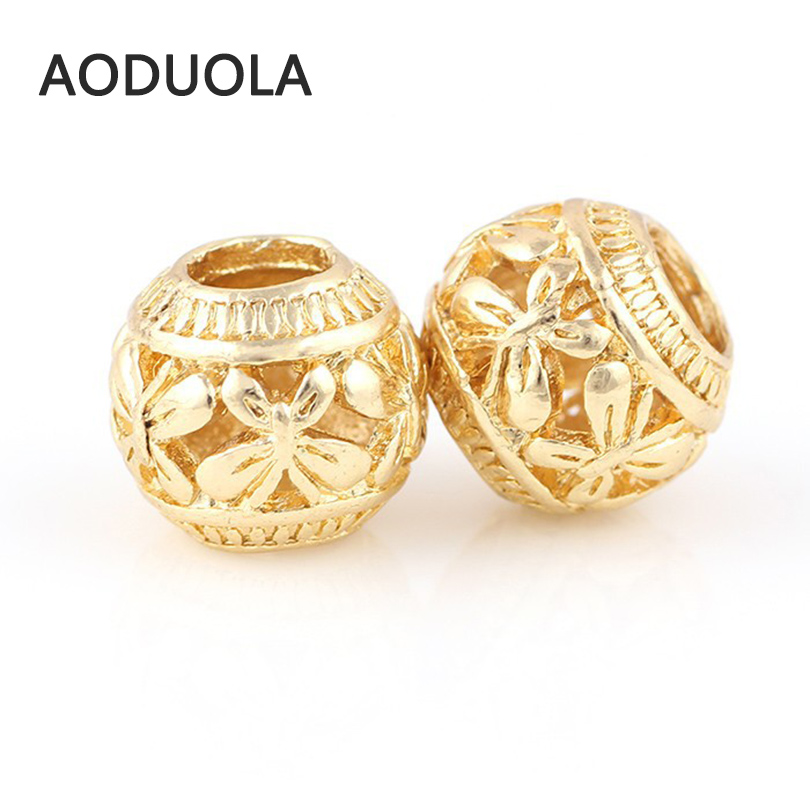 10 Pcs a Lot Gold-Color Big Hole Column Butterfly Alloy Beads DIY Spacer Chunky Charm Bead Fit For Pandora Charms Bracelets