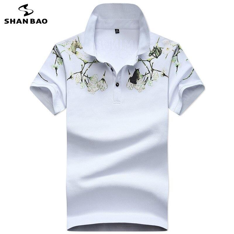SHANBAO brand chest flower print men's fashion casual short-sleeved   Polo   shirt 2019 summer new cotton business   POLO   shirt