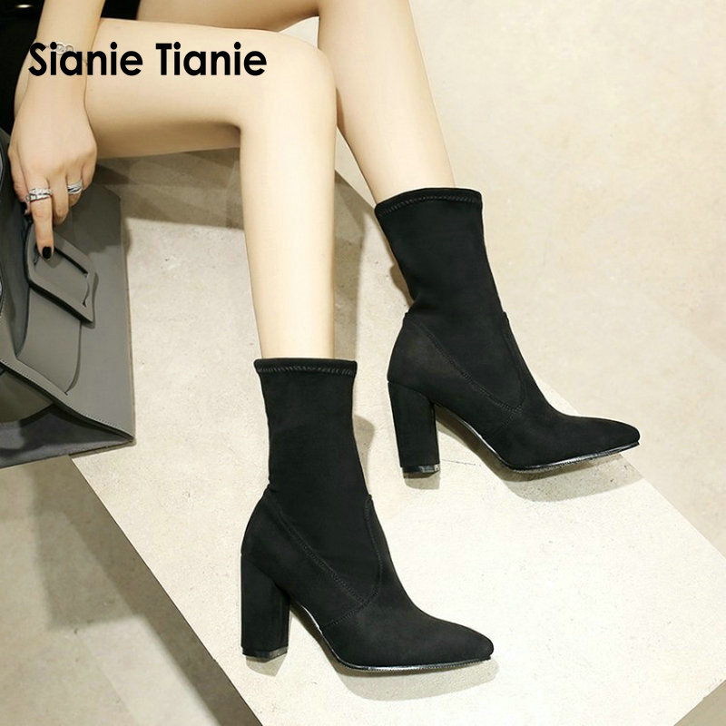 Sianie Tianie 2018 Female Sexy Stiletto Sock Booties Stretch Fabric Pointed Toe High Heels Ankle Boots Women Pumps Botas Mujer