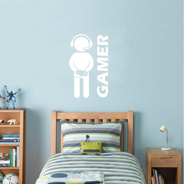 gamer sticker mural vido jeu art papier peint vinyle sticker pour garons chambre salle de jeux dcoration