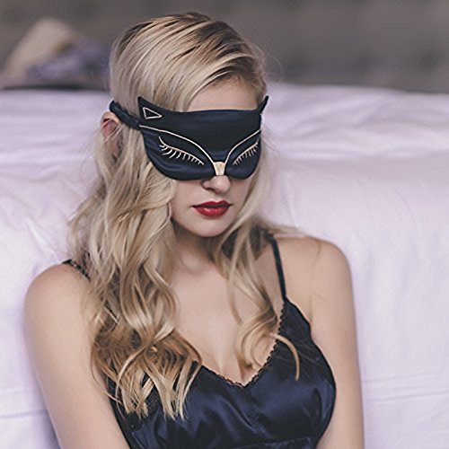 Silk Sleep Eye Mask, Double-Side Smoothing Mulberry Silk Eyeshade, Adjustable Strap,Sexy Fox Cat For Travel, Relax, Nap,Fashiona