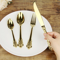 High Quality Kitchen Table Western Tableware European Gold 304 Stainless Steel Steak Knife Fork Suit Knife