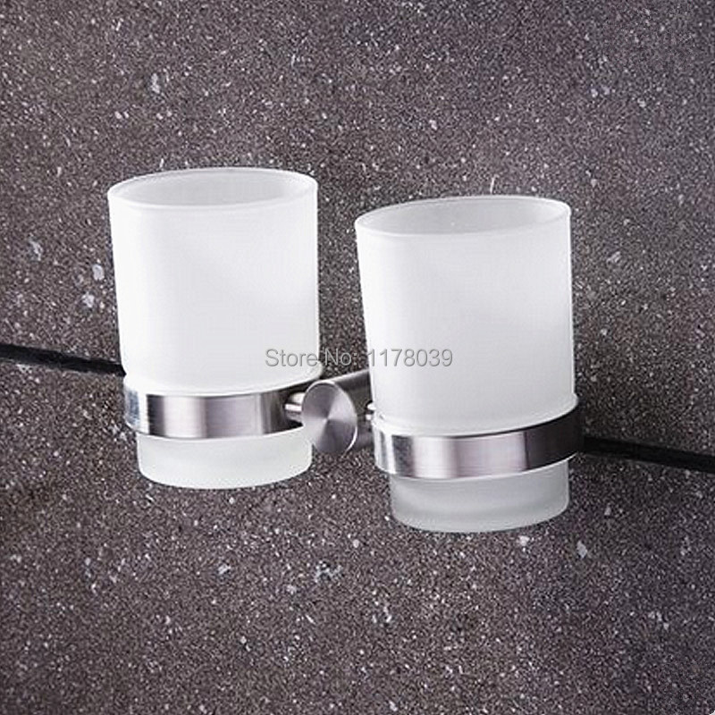 304 stainless steel brushed bathroom double cup holderswall mounted bathroom tumbler holdertoothbrush glass cupj16651 in cup tumbler holders from home - Bathroom Tumbler