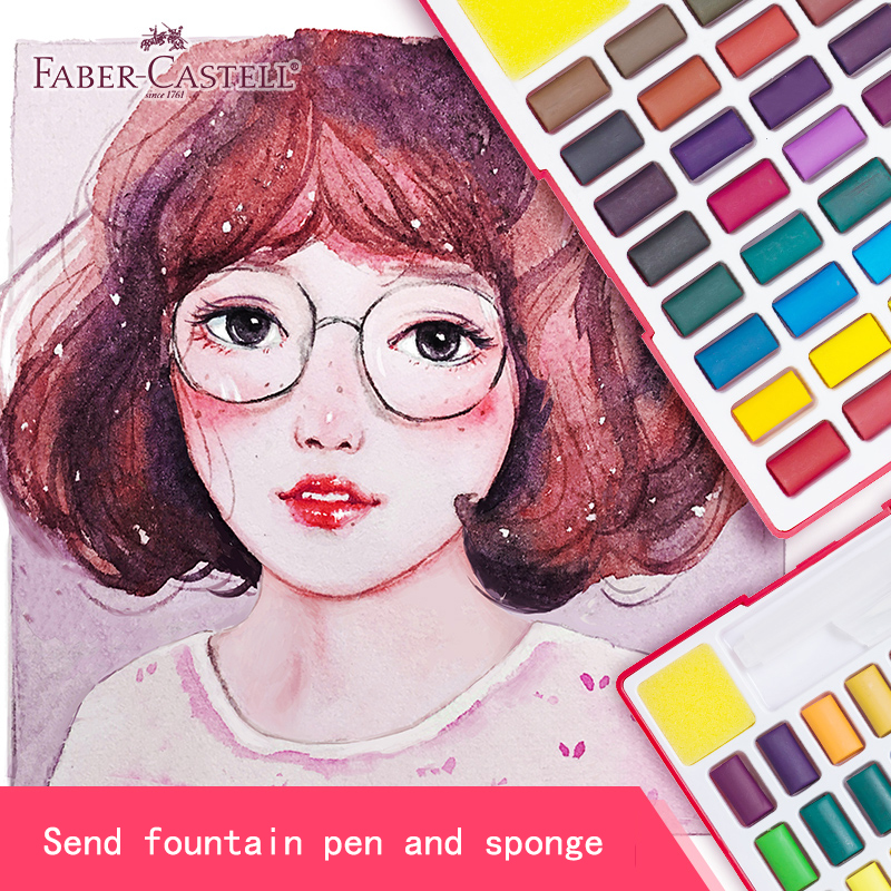 Image 5 - Faber Castell 24/36/48Color Solid Watercolor Paint Box With Paintbrush Bright Color Portable Watercolor Pigment Art Supplies    -