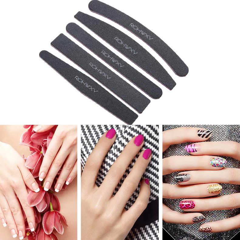 ROHWXY 5 pièces lime à ongles noire courbe de ponçage Nail Art gris barre de ponçage pour ongles Art conseils pédicure manucure outil accessoires