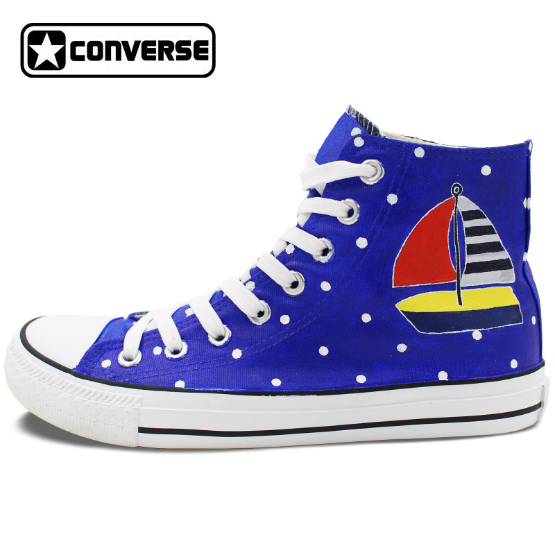 Converse All Star font b Shoes b font Original Design Hand Painted Wave Point Sailing Boat