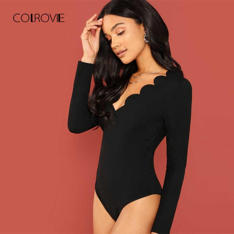 COLROVIE черная однотонная жилетка с v-образным вырезом гребешок отделка Повседневный обтягивающий костюм Для женщин с длинным рукавом Элегантный боди-комбидресс уличная модные боди