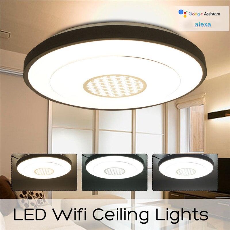 Intérieur 36led LED Dimmable Lampe Plafond Panneau Vers Le Bas Luminaire Wifi Contrôle Google Alexa Chambre Salon