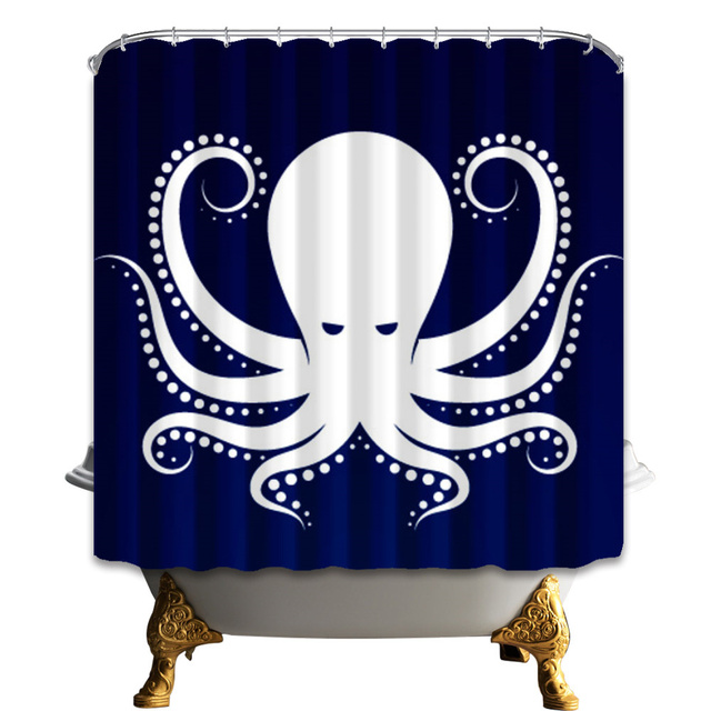 Shower Curtains White Octopus On Navy Blue Bathroom Curtain
