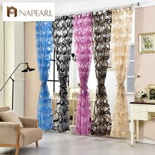 NAPEARL 1 Piece Modern organza transparent tulle curtains window treatments sheer panel curtains for living room endless design(China)
