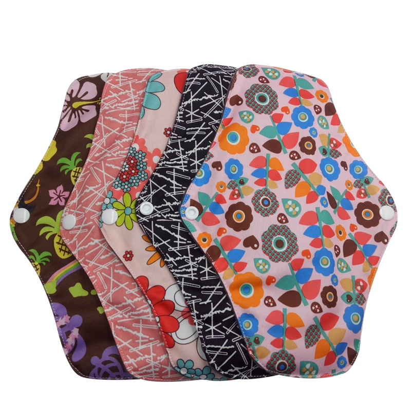 5 Pcs Menstrual Pads Reusable Sanitary Pads Reusable Charcoal Cloth Bamboo Period Pads Heavy Sanitary Washable Pads