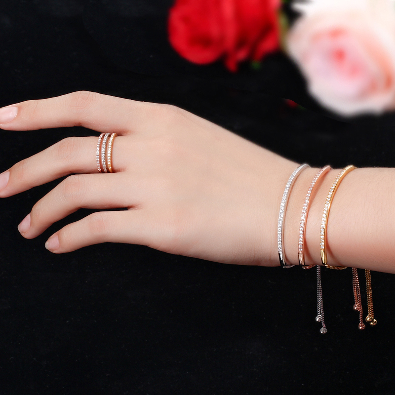 CWWZircons Adjustable Bracelet Bangle for Women Captivate Bar Slider Brilliant CZ Rose Gold Color Jewelry Pulseira Feminia CB089 7