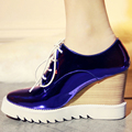 AIWEIYi British Style Thick Sole Platform Shoes Woman Wedges Shoes Vintage Round toe Cutouts Oxfords Shoes Lace up Women Shoes