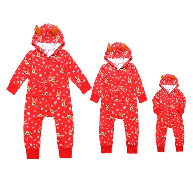 f2c849082572 Family Matching Homewear Elk Head Snowflake Printing Christmas Jumpsuit  Pajamas Set Kid Mom Dad Parent-child Body Suit Outfits