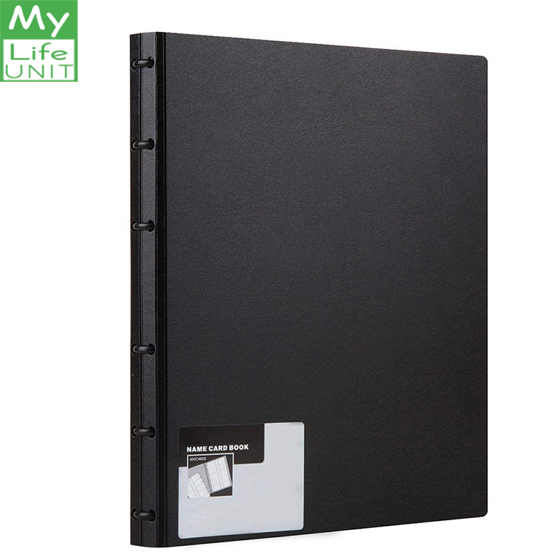 MyLifeUNIT Business Card Book PVC Plastic Name Card Holder Book With 600 Business Cards Capacity (Black)