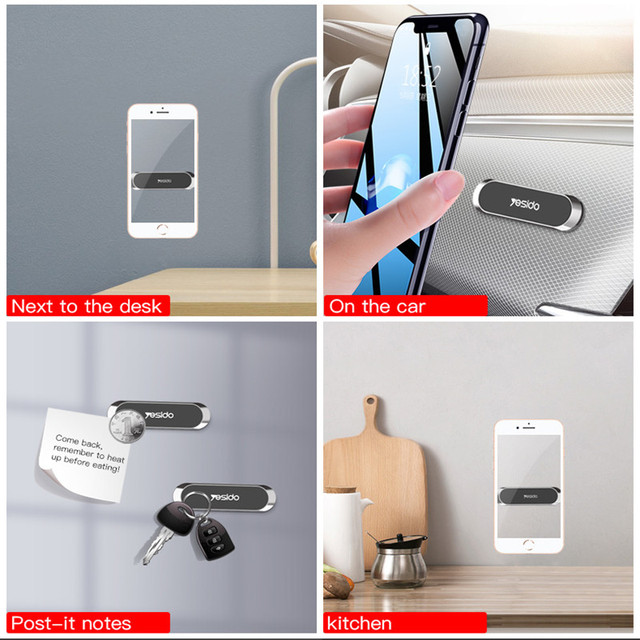 Mini Strip Shape Magnetic Car Phone Holder Stand For iPhone Samsung Huawei Wall Metal Magnet GPS Car Mount Dashboard 2