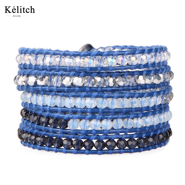 Kelitch China Jewelry Bohemia Charm Clear Crystal Beaded Handmade Attractive Women Classic Multilayers Beads Bracelets