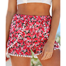 2019 Summer Style Casual Shorts Women Black Beach Pom Pom Ball Tassel Sunflower Print Short Feminino Elastic High Waist Shorts